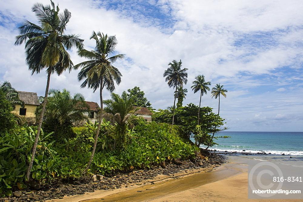 Colonial buildings in Caue, east coast of Sao Tome, Sao Tome and Principe, Atlantic Ocean, Africa