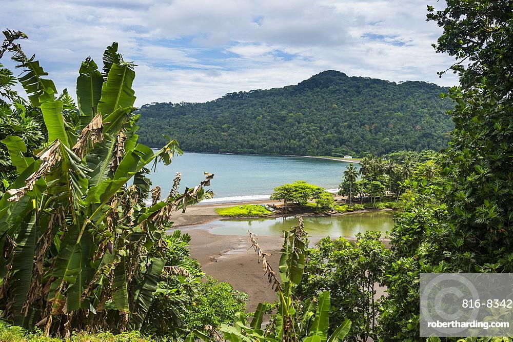 View over the bay of Sao Joao dos Angloares, East coast of Sao Tome, Sao Tome and Principe, Atlantic Ocean, Africa