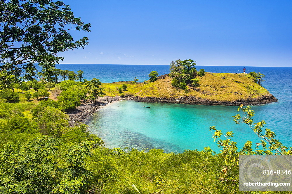 The turquoise waters of Lagoa Azul in northern Sao Tome, Sao Tome and Principe, Atlantic Ocean, Africa