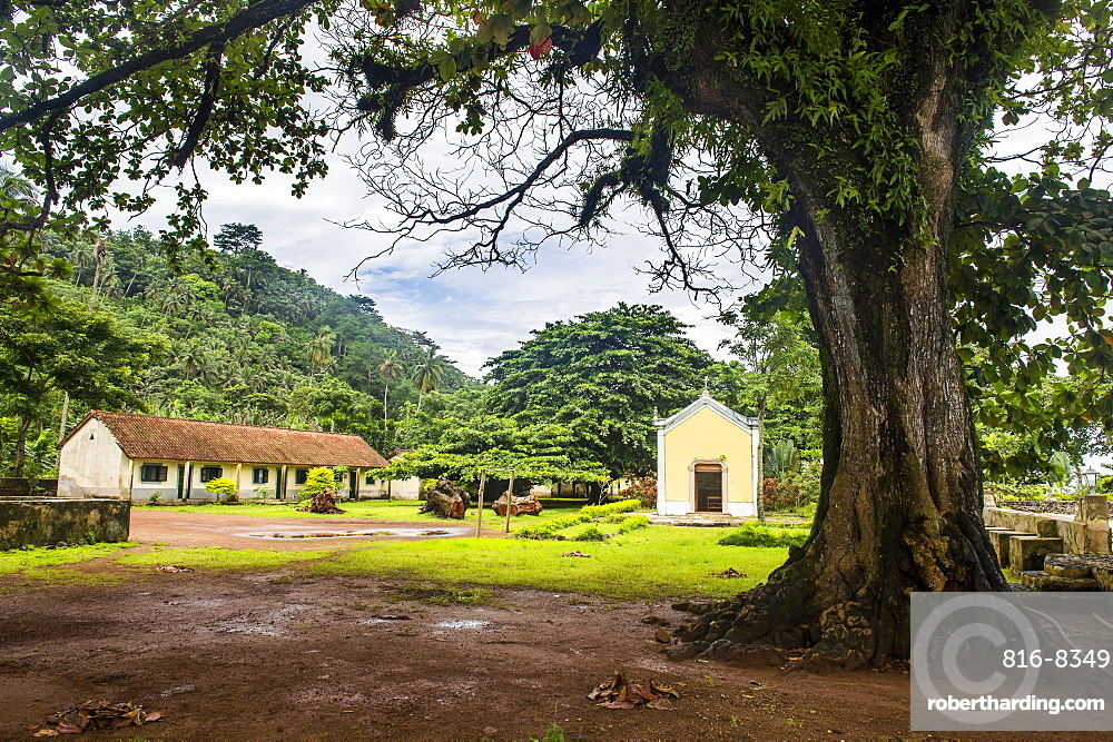 Old plantation Roca with a little chapel, Ilheu das Rolas, Sao Tome and Principe, Atlantic Ocean, Africa