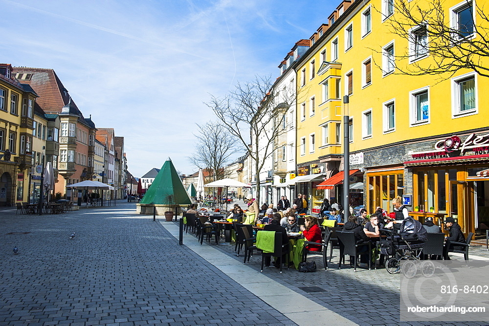 Pedestrian zone in Bayreuth, Upper Franconia, Bavaria, Germany, Europe