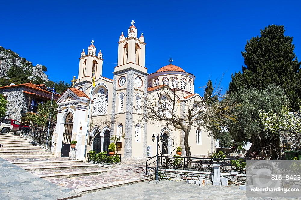 Church in Sianna village, Rhodes, Dodecanese Islands, Greek Islands, Greece, Europe