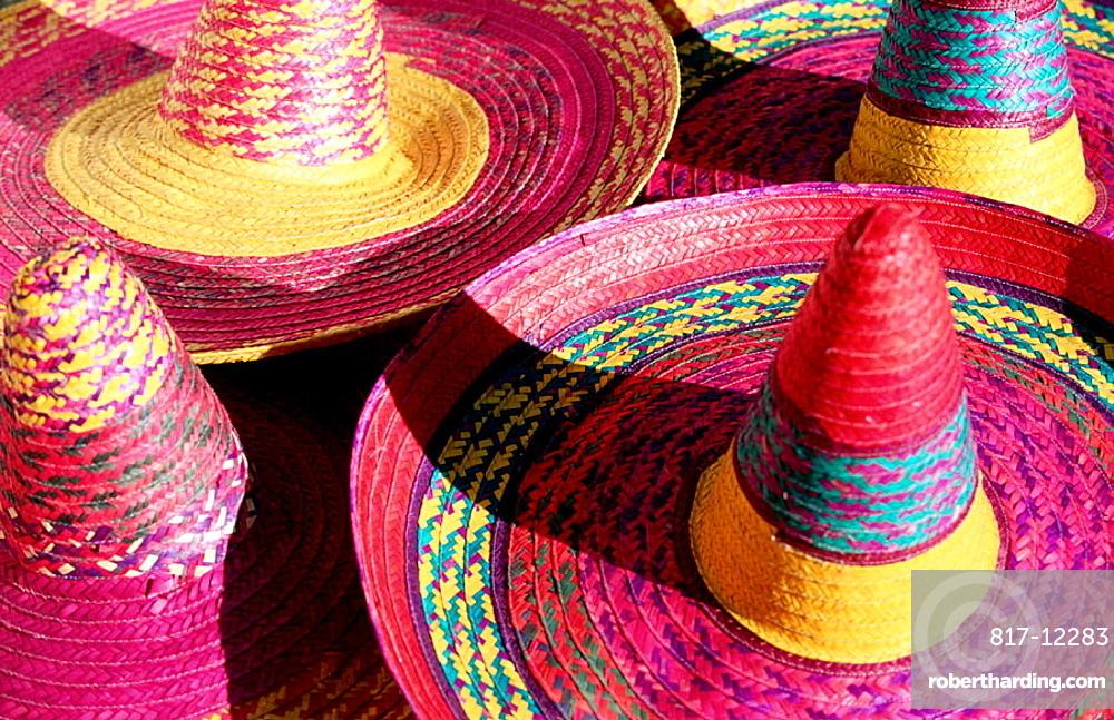 Colorful straw hats at market, Merida, Mexico