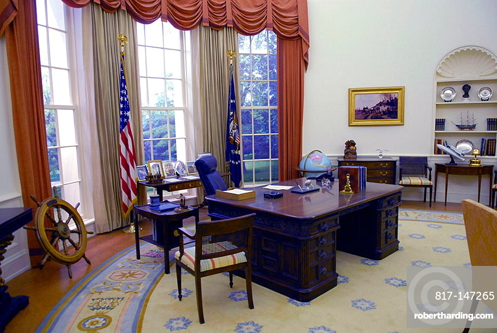 Presidents White House Oval Office at Gerald R Ford Presidential Museum Grand Rapids Michigan MI