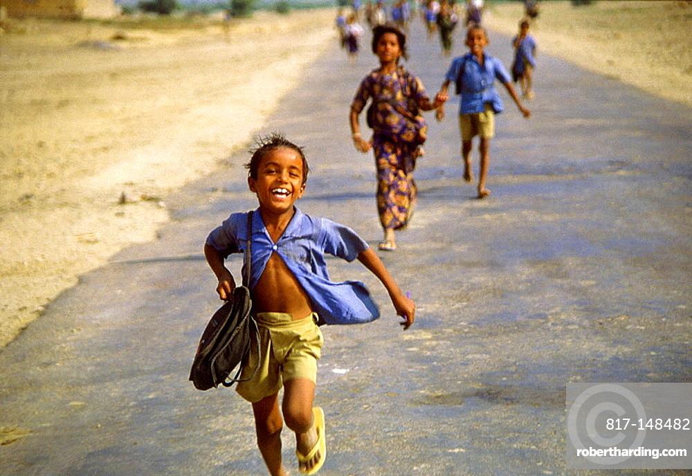 Children coming out school, Thar desert region, India
