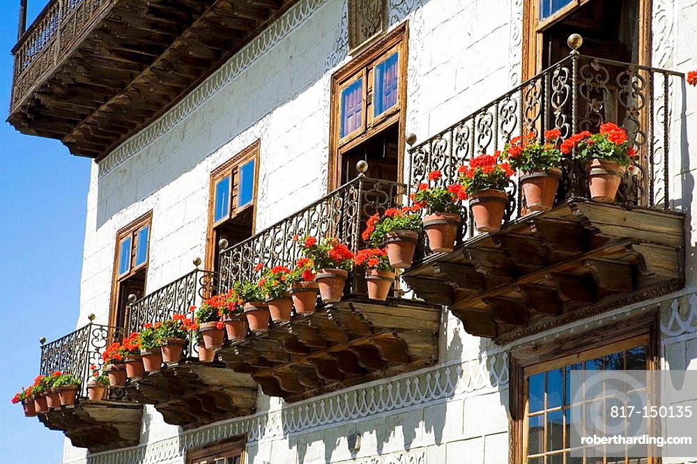 Detail of the Casa de los Balcones, La Orotava, Tenerife, Canary Islands, Spain
