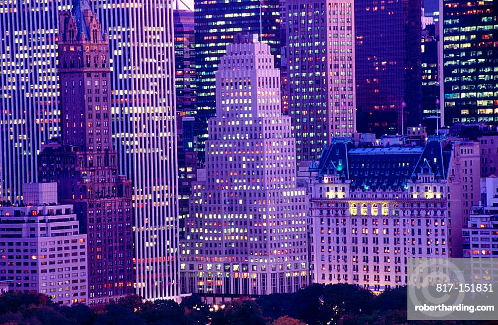 Plaza Hotel and skyscrapers in Manhattan, New York City, USA