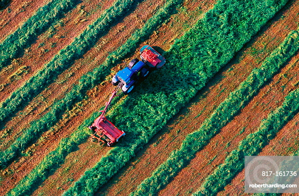 Tractor harvest hay, Aerial view, Narke, Sweden
