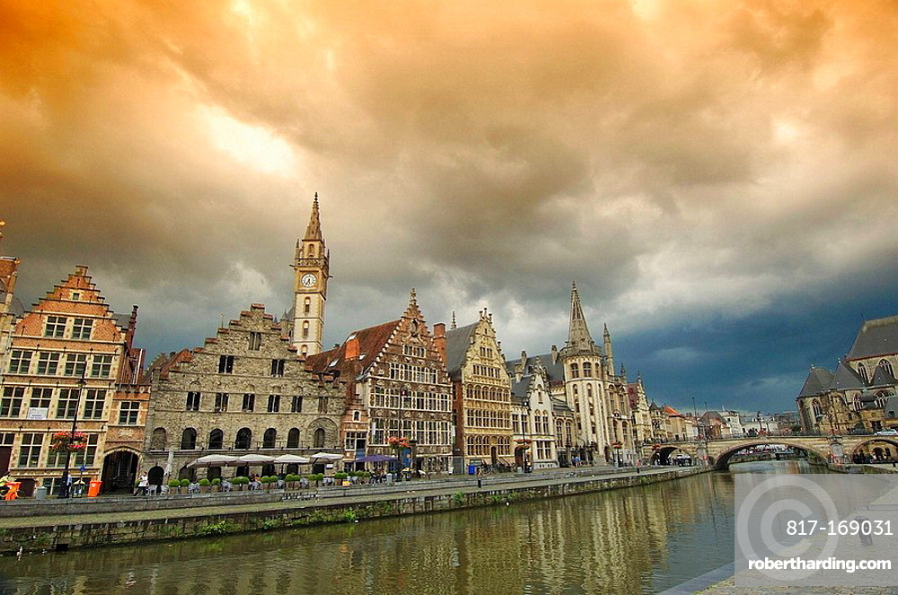 Water reflections from Guild Houses at Leie River  Ghent  Flanders, Belgium