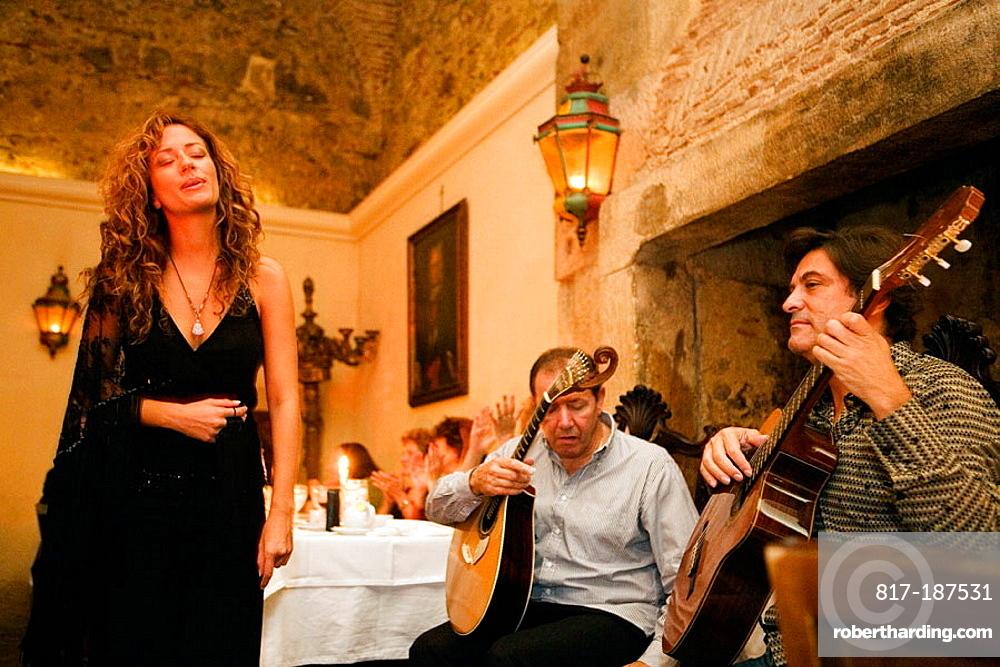Fado Singer Ana Moura in Bacalhau de Molho restaurant, Lisbon, Portugal.