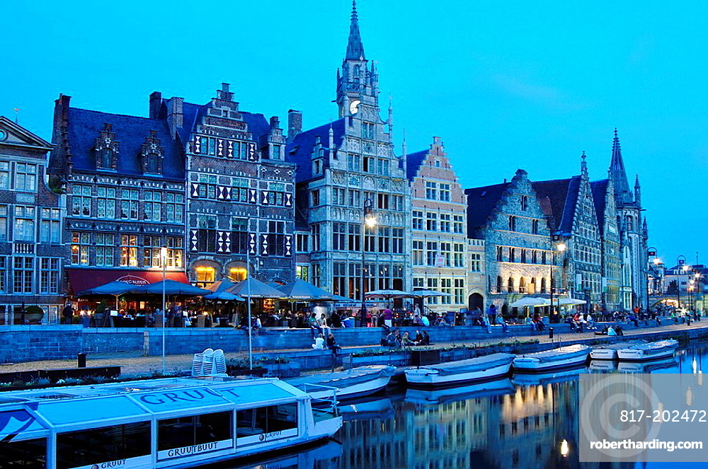 Belgium, Flanders, Ghent, Guild Houses and Leie River at Dusk