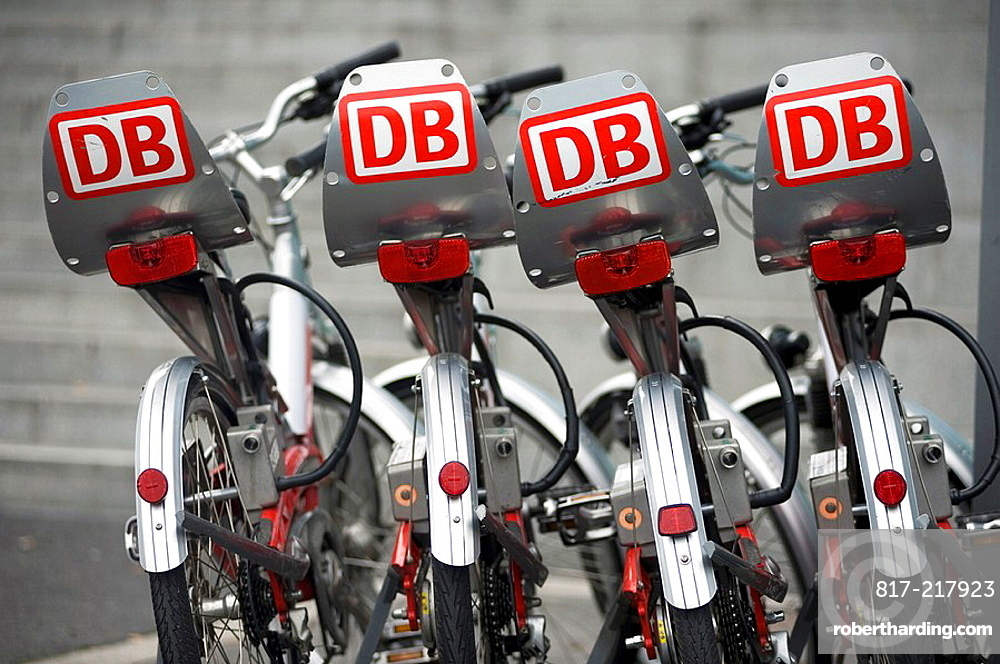 Bicycles for hire lined up in Berlin The bikes are operated by DB or Deutsche Bahn and can be unlocked and hired by credit card