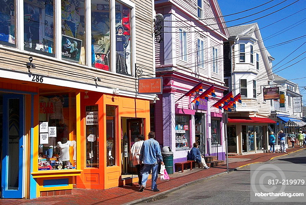 Stores on Commercial Street, Provincetown, Cape Cod, Massachusetts, USA