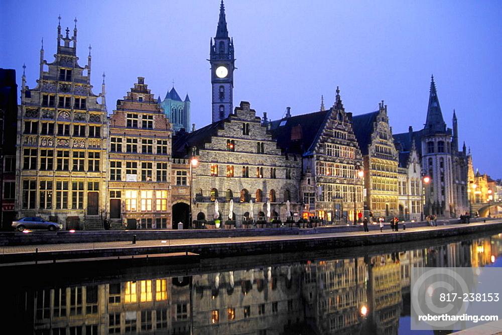 Riverside street scene Graslei, Ghent, Flanders, Belgium