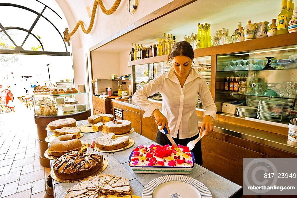 Al Pescatore' restaurant and bar, serving the 'Torta Sant'Angelo' (dessert), Sant'Angelo, Serrara Fontana, Ischia, Campania, Italy
