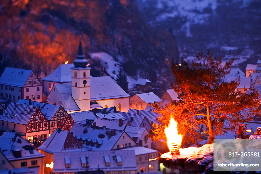 Pottenstein, Franconia, Bavaria, Germany, annual Ewige Anbetung fire festival on the evening of January 6th, 2009