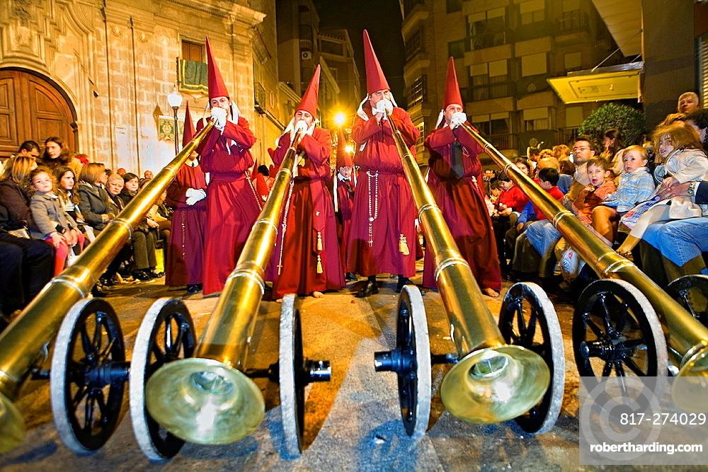 Bocinas Easter Monday procession Cofradia del Santisimo Cristo del Perdon Holy Week Murcia Spain