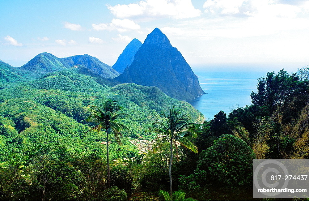 Saint Lucia The Pitons volcanic twin peaks above town of Soufriere on the West Indies Caribbean island of St Lucia