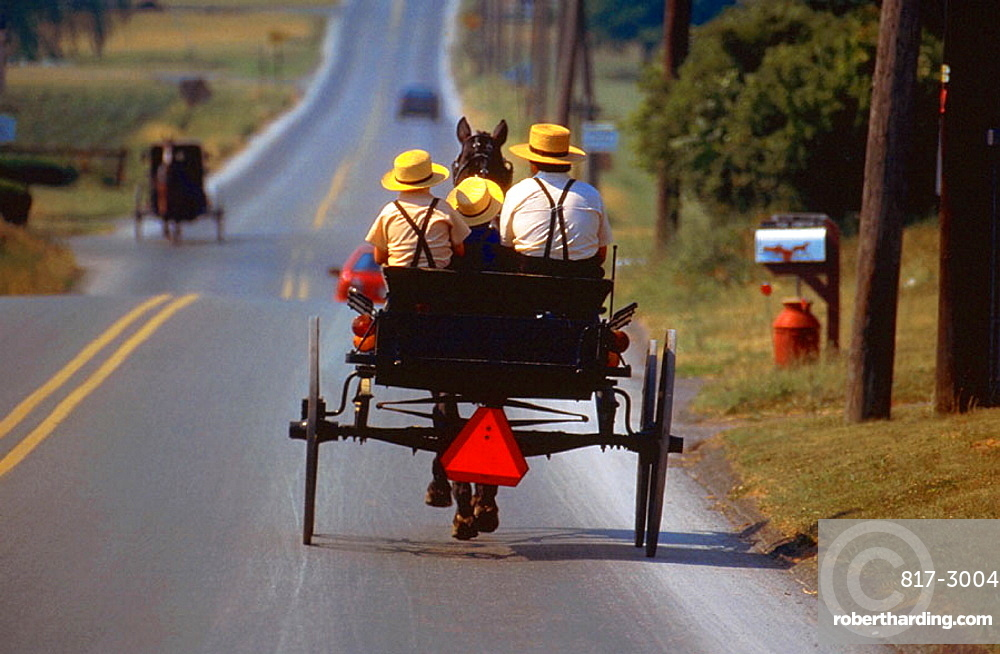 Amish family taking buggy ride, Intercourse, Pennsylvania, USA