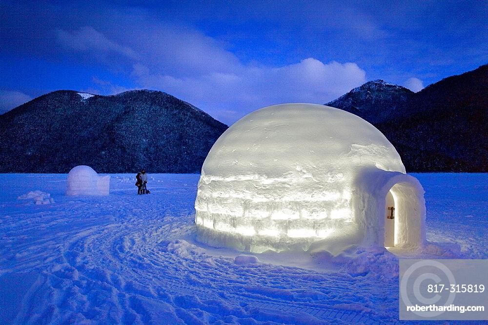 Igloo Village on Shikaribetsu frozen lake, Snow Water surface , Shikaribetsu, Hokkaido, Japan