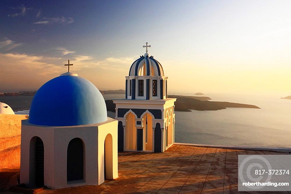 Churches at Sunset, Firostefani, Santorini, Cyclades, Greece