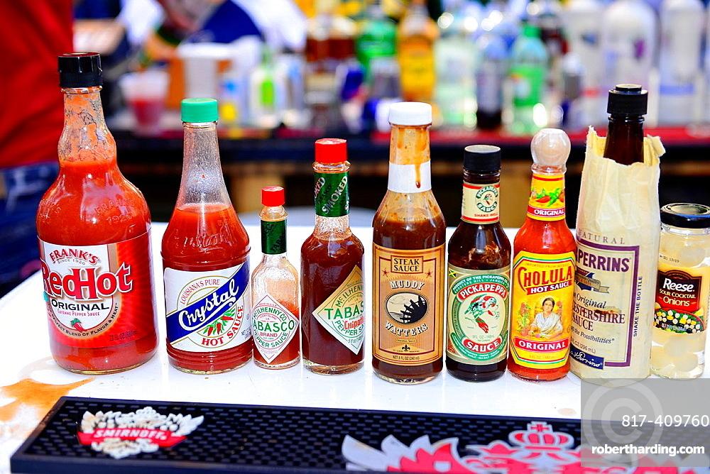 Hot Sauces Displayed La Clede Landing Restored Neighboorhood St  Louis MO Missouri