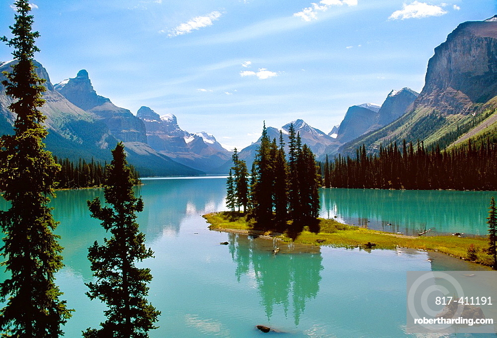 Maligne Lake Jasper National Park Rocky Mountains Alberta Canada.