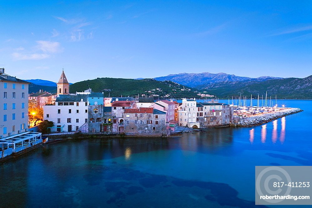 France, Corsica, Haute-Corse Department, Le Nebbio Region, St-Florent, elevated port view, dawn
