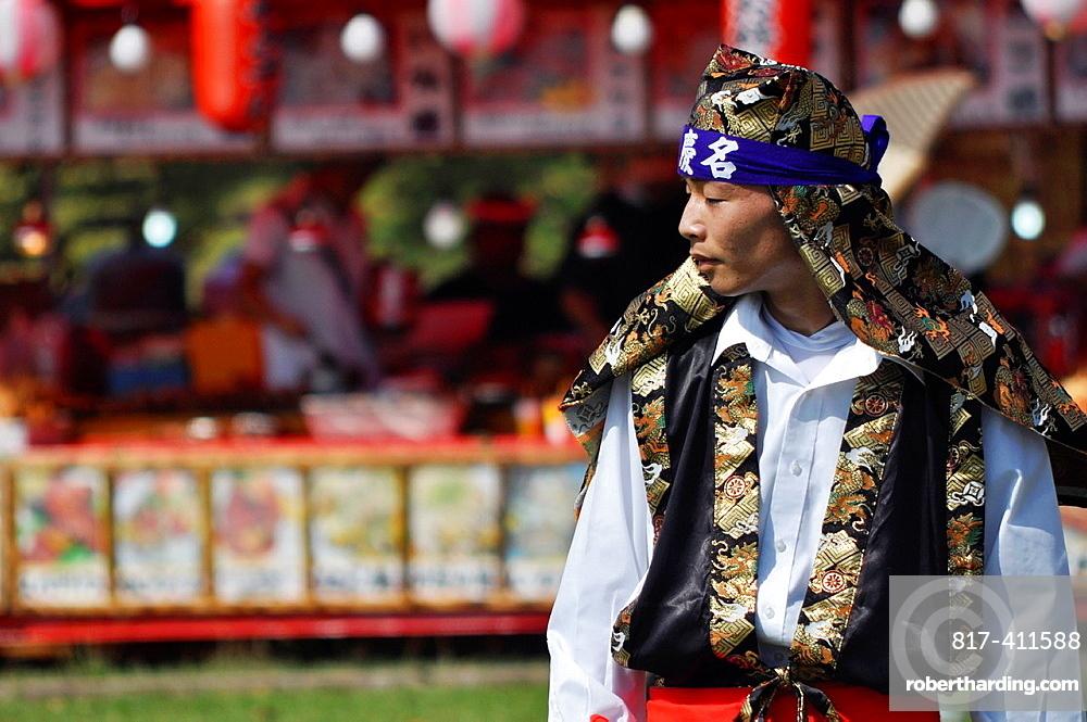 Uruma City, Okinawa, Japan, man at Eisa Festival