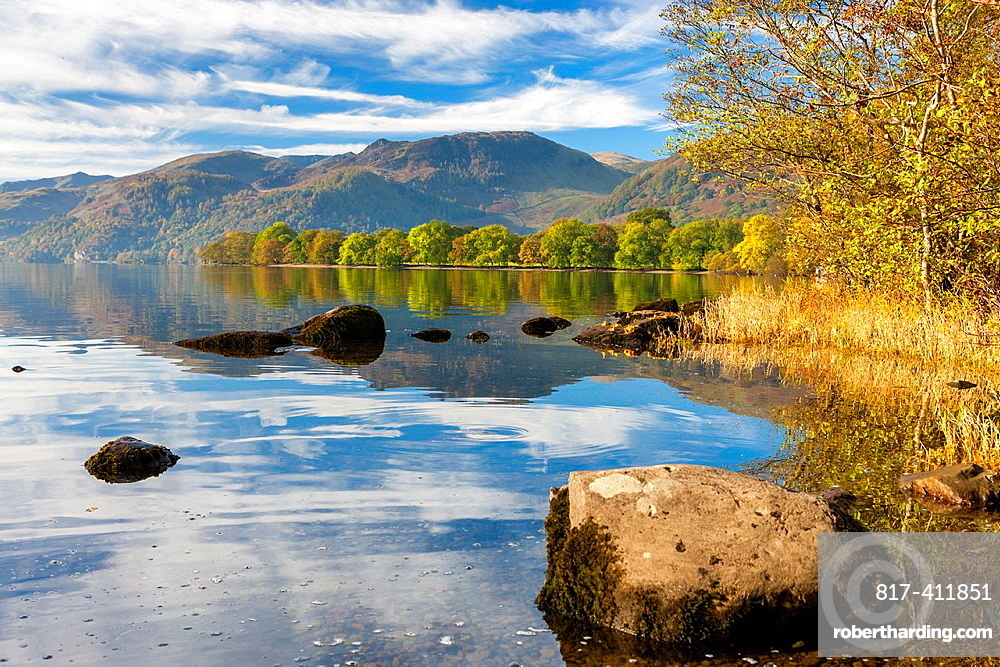 Autumn trees at Ullswater in the Lake District National Park, Cumbria, England, UK, Europe