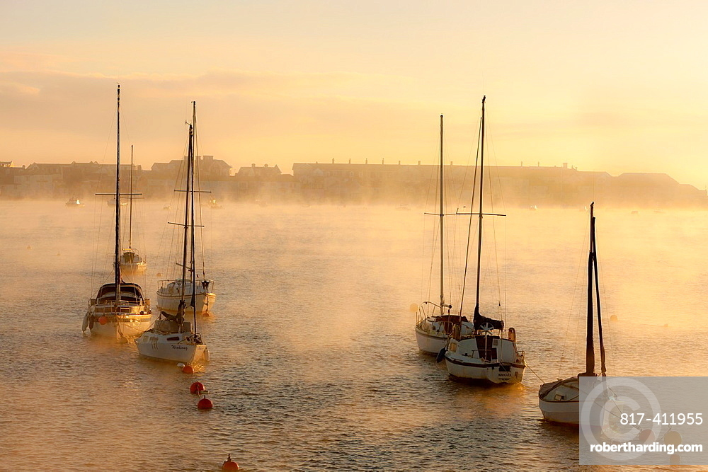 Boats moored on the Teign estuary in Teignmouth, South Devon, England, UK, Europe