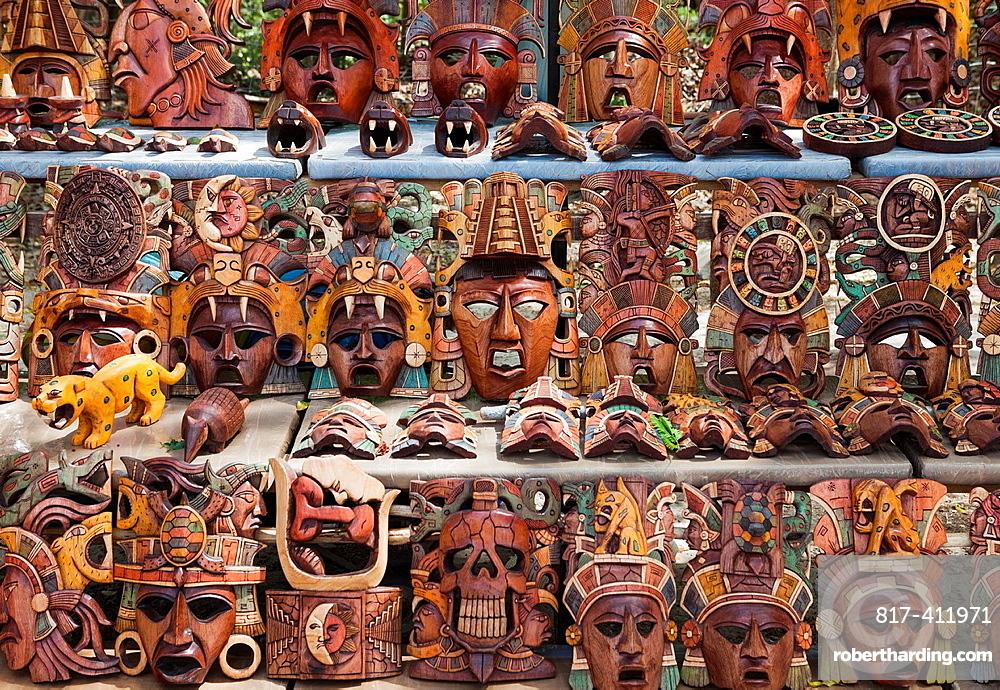 Wooden masks for sale at Chichen Itza, Yucatan Peninsula, Quintana Roo, Mexico