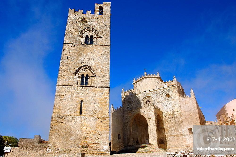 Torre de Re Frederico 2nd, erice Duomo Erice cathedral, Sicily stock photos