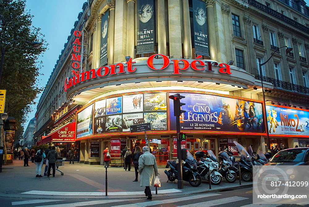 Paris, France, French Cinema Theater, Gaumont Opera, Front Building at Night