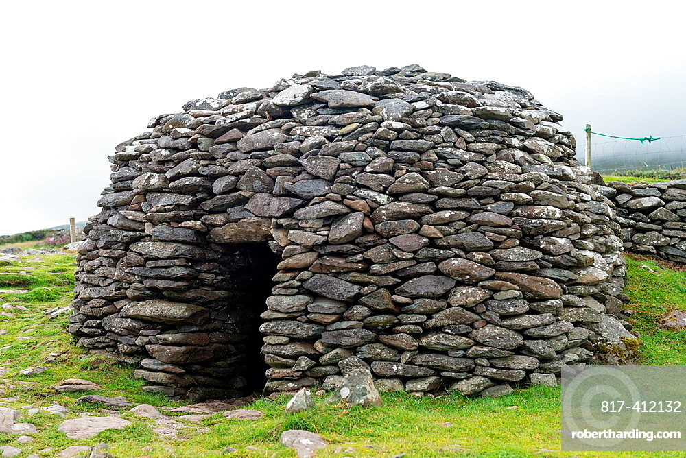 Prehistoric Beehive Hut Dingle Peninsula County Kerry Ireland Eire Irish prehistory freestone construction dry stone
