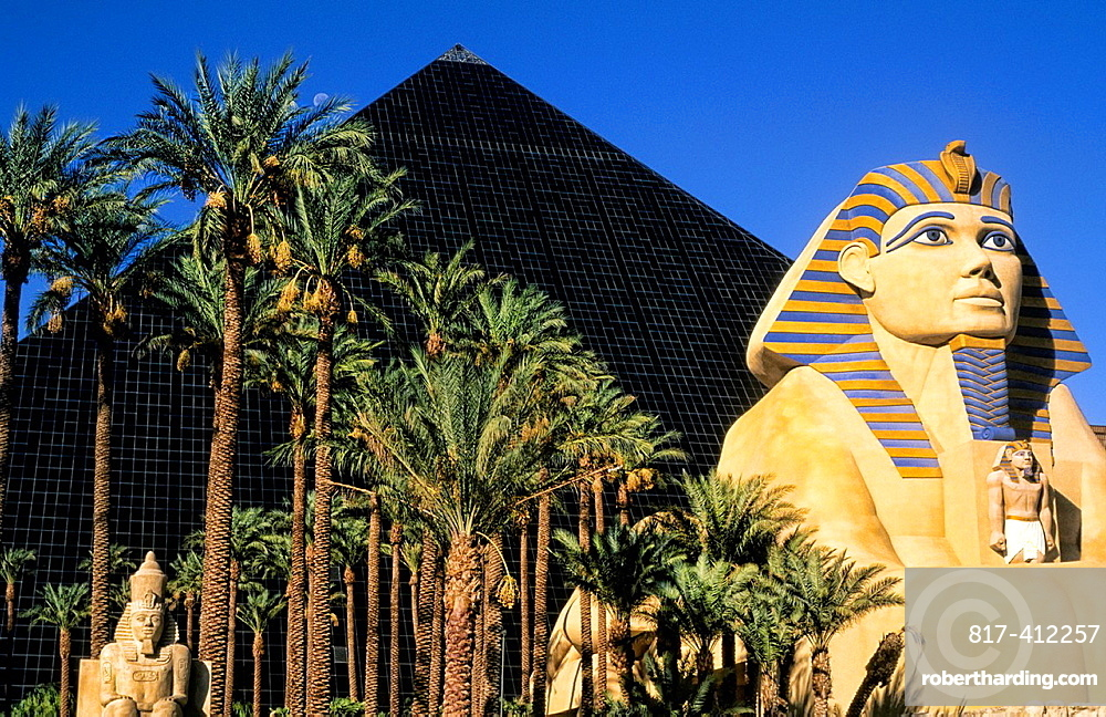 Gambling at the famous upscale Luxor Hotel on the Strip in the desert of exciting Las Vegas Nevada and energy in the USA
