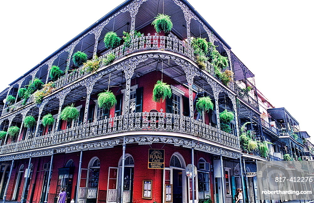 Beautiful architecture and iron railings in the French Quarter in wonderful city of New Orleans Louisiana NOLA USA