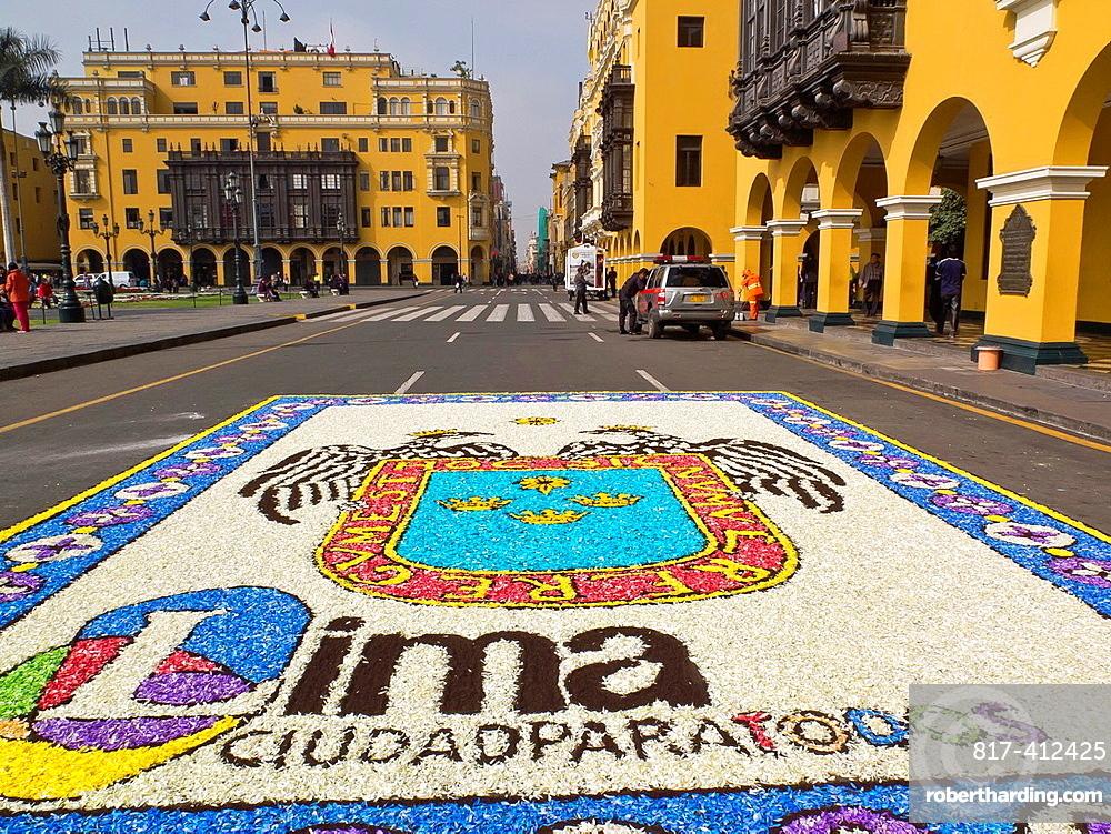 Peru Lima city Traditional architecture Flower Carpet in the Plaza de Armas