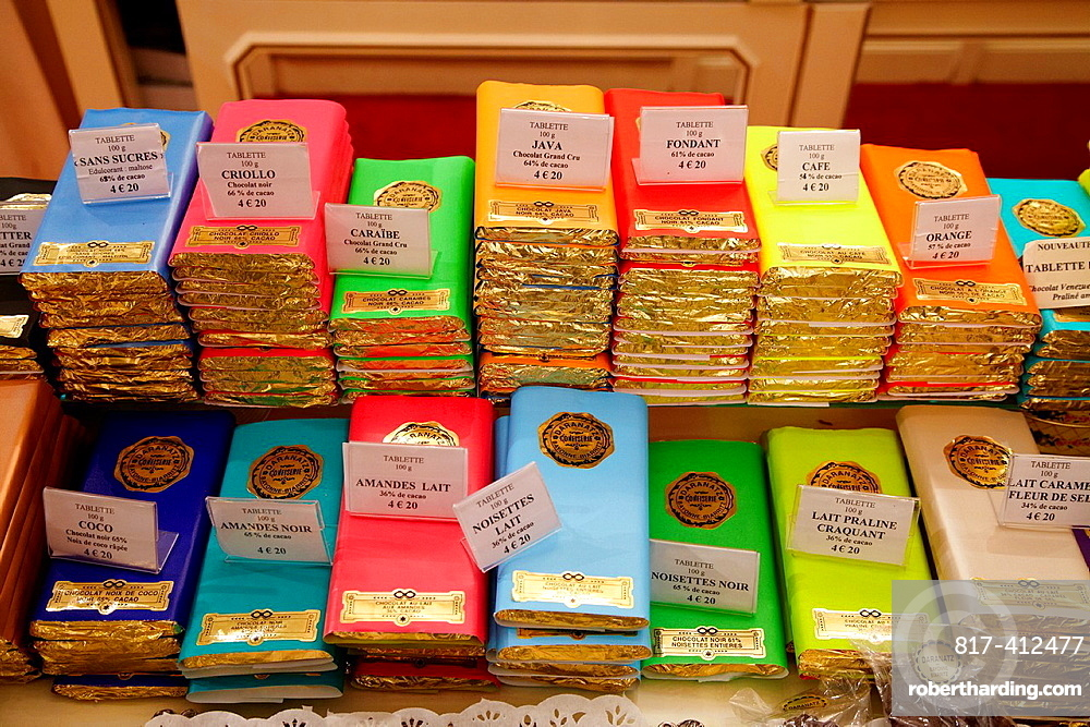 French chocolate, shop, Bayonne, Aquitaine, Pyrenees Atlantiques, France.