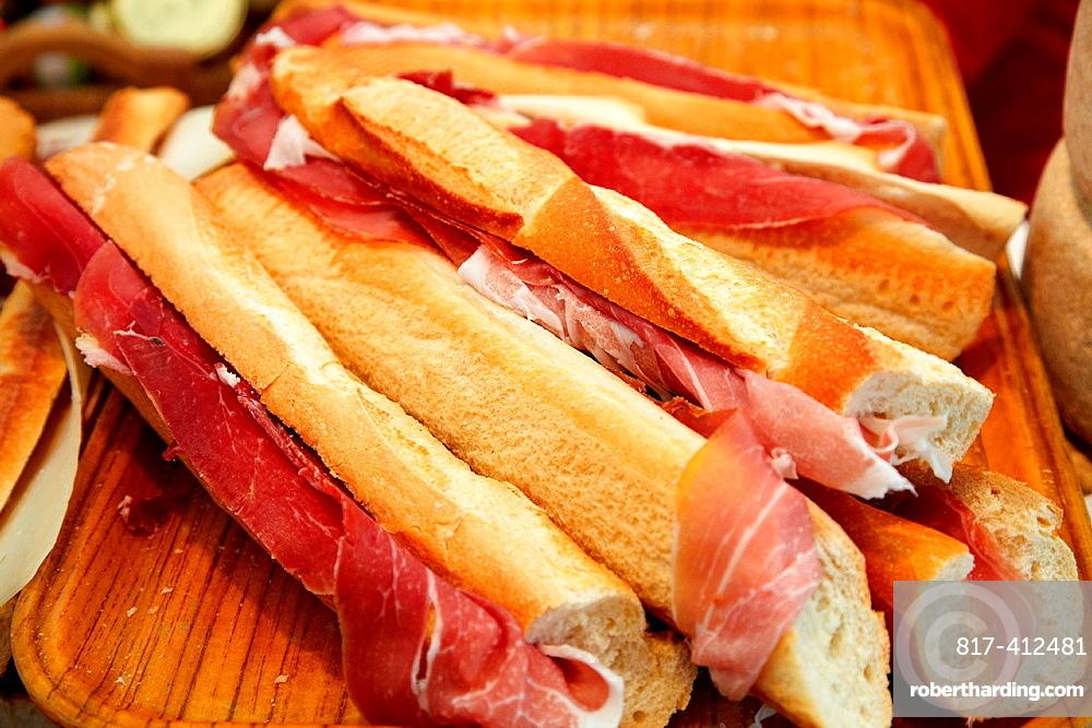 Ham sandwich, Ham fair, Bayonne, Aquitaine, Pyrenees Atlantiques, France.