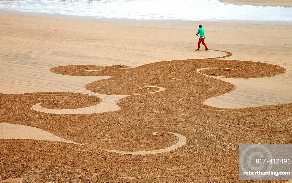 Sand drawing, Beach, Hendaye, Aquitaine, Pyrenees Atlantiques, France.