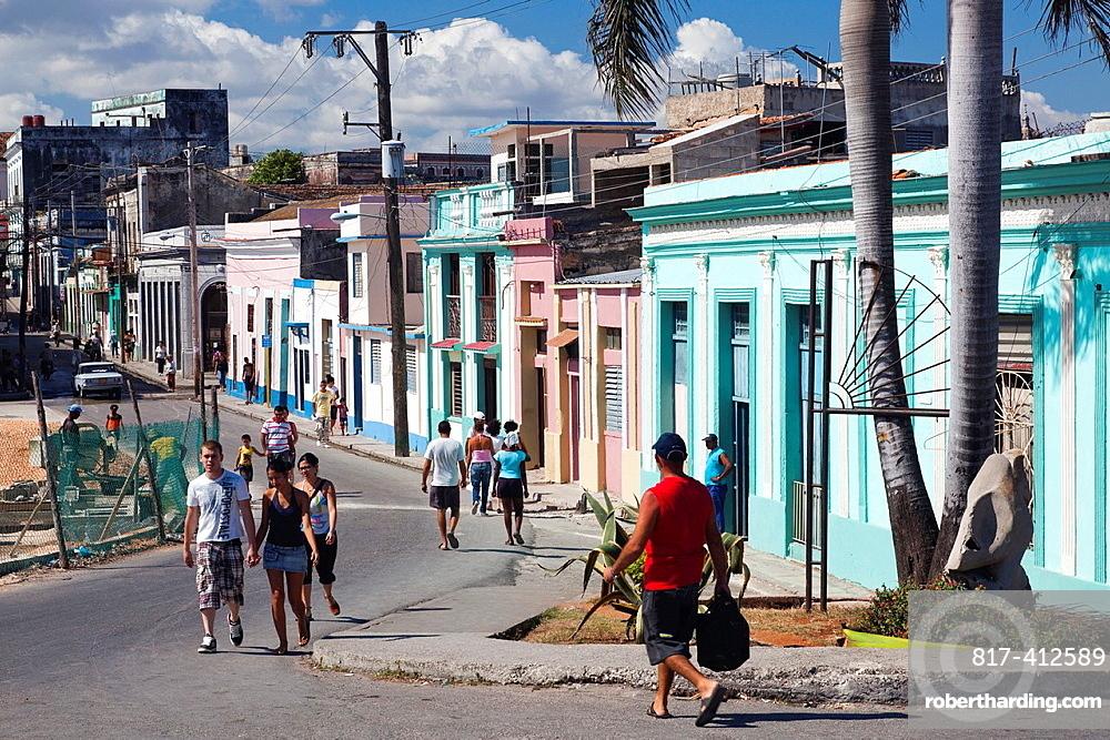 Cuba, Matanzas Province, Matanzas, town waterfront buildings