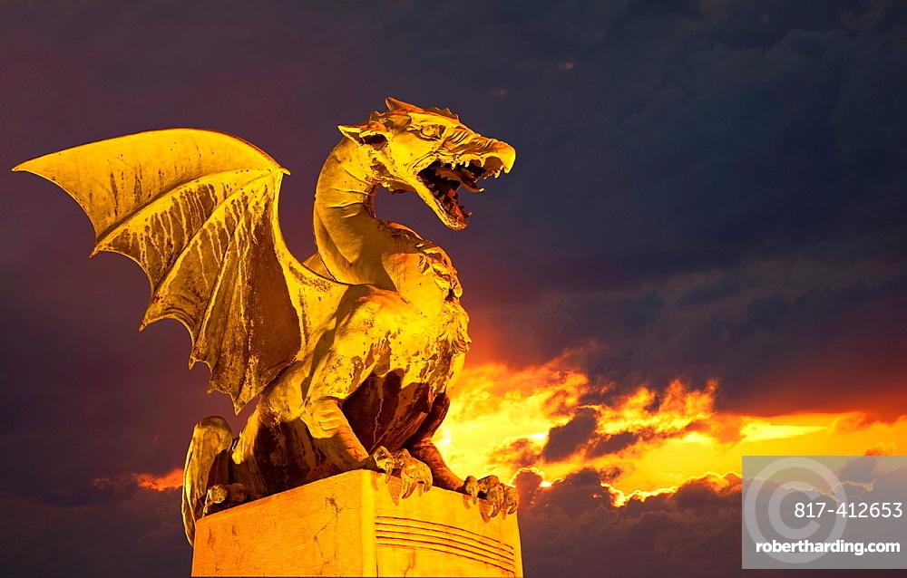 Slovenia Ljubljana Bronze dragon on the Dragon Bridge, over Ljubljanica River.