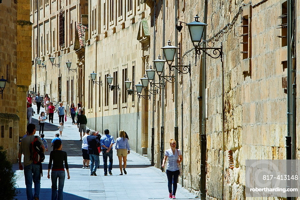 Compania street and Pontifical University of Salamanca, city declarated World Heritage by UNESCO Castilla y Leon Spain