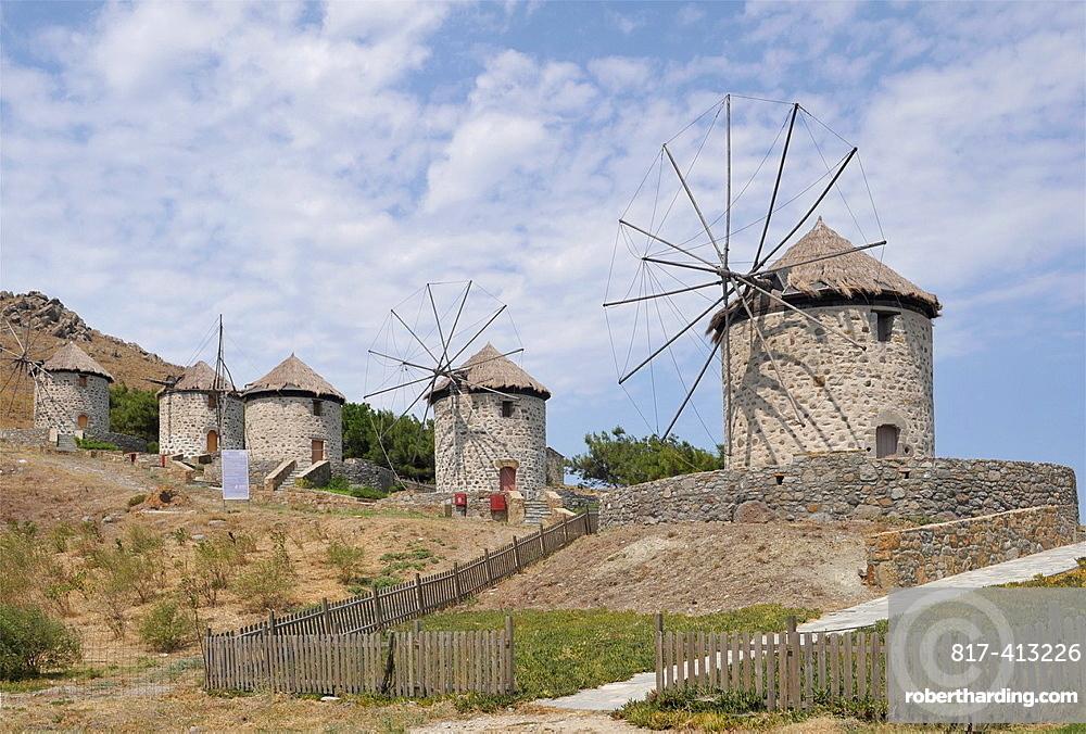 stone windmills in Kontias, Limnos Island, Greece