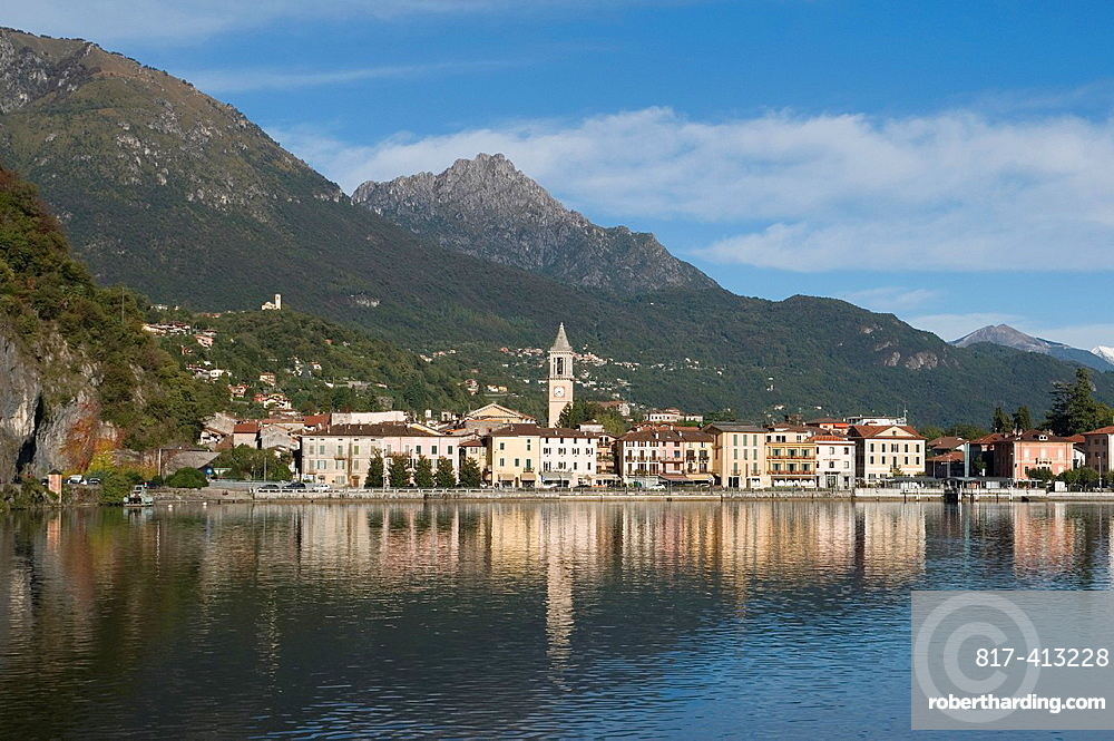the town of Porlezza on the shore of Lake Lugano Ceresio, Lombardy, Italy