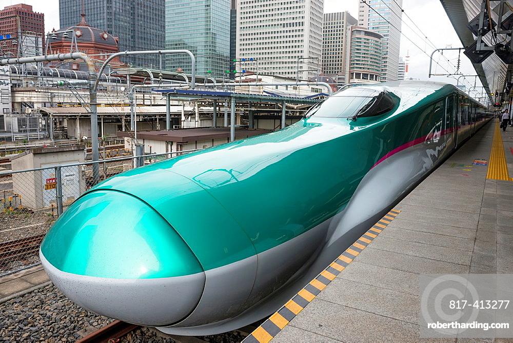 The new Hayabusa Shinkansen Train Tokyo Station Japan