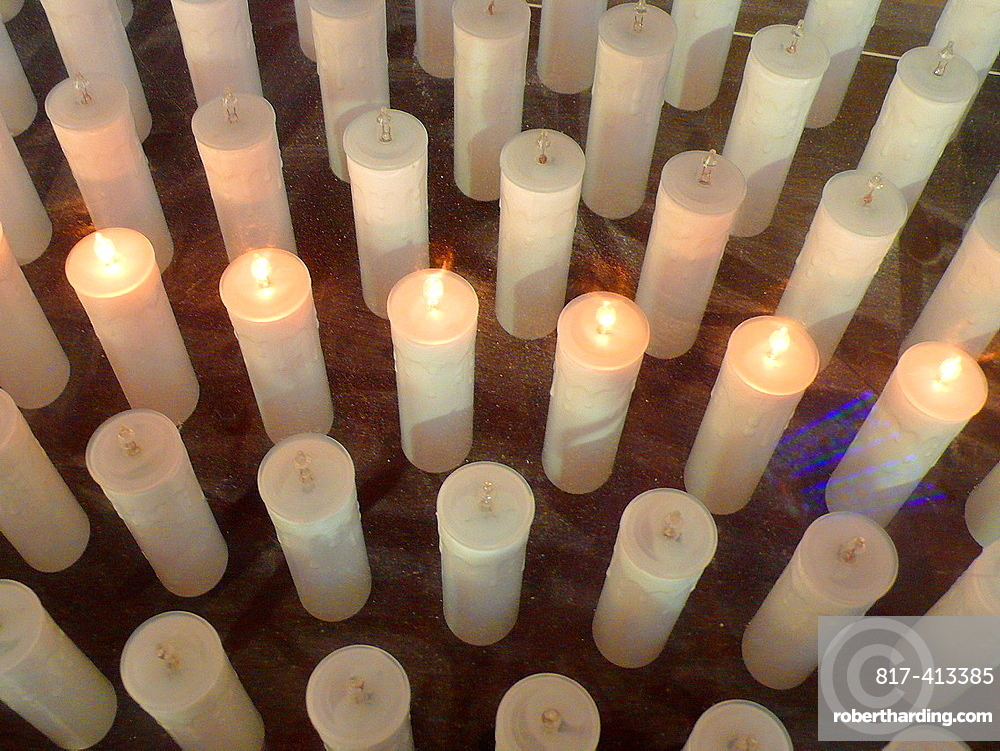 Candles in Ciutadella cathedral Minorca, Balearic Islands, Spain