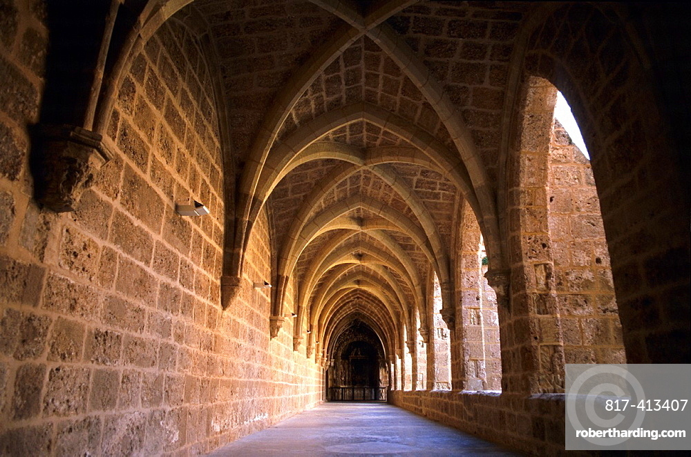 Gothic cloister Monasterio de Piedra Zaragoza Aragon Spain