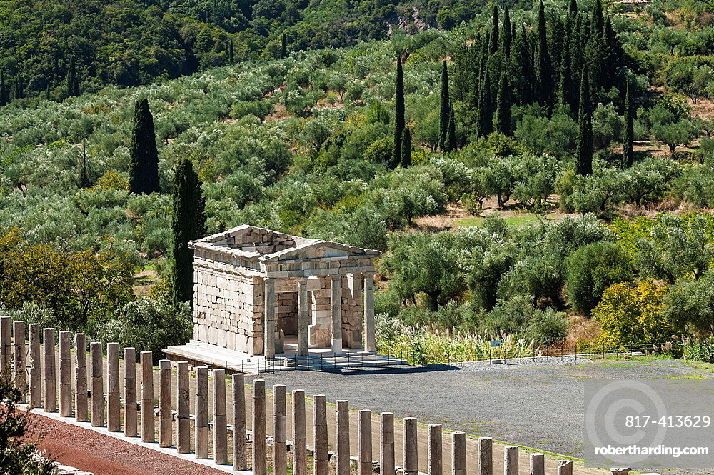 The Saithides funerary Mausoleum at the end of the stadium at Ancient Messene, Messinia, Peloponnese, Greece